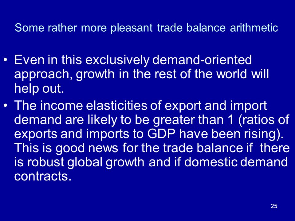 25 Some rather more pleasant trade balance arithmetic Even in this exclusively demand-oriented approach, growth in the rest of the world will help out.