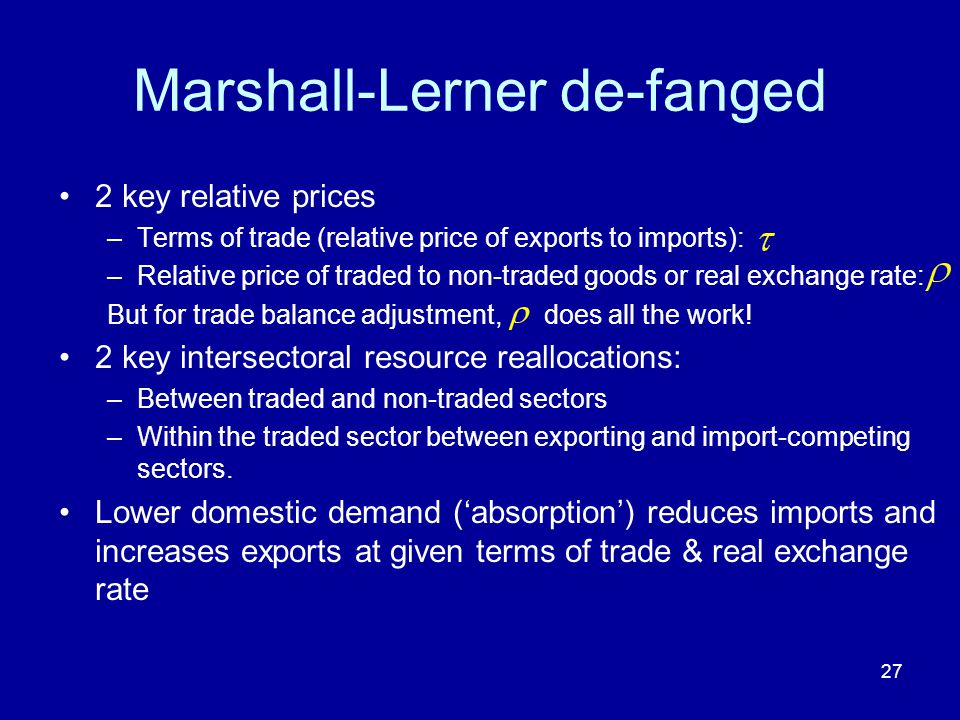 27 Marshall-Lerner de-fanged 2 key relative prices –Terms of trade (relative price of exports to imports): –Relative price of traded to non-traded goo