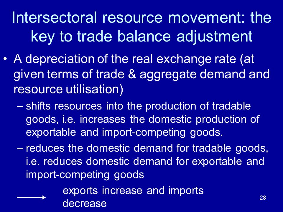 28 Intersectoral resource movement: the key to trade balance adjustment A depreciation of the real exchange rate (at given terms of trade & aggregate demand and resource utilisation) –shifts resources into the production of tradable goods, i.e.