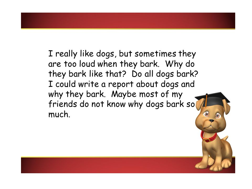 I really like dogs, but sometimes they are too loud when they bark. Why do they bark like that? Do all dogs bark? I could write a report about dogs an