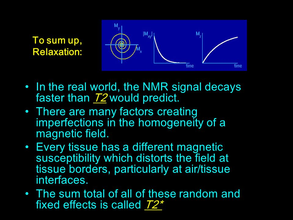 In the real world, the NMR signal decays faster than T2 would predict. There are many factors creating imperfections in the homogeneity of a magnetic