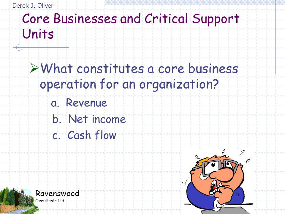 Derek J. Oliver Ravenswood Consultants Ltd  What constitutes a core business operation for an organization? a. Revenue b. Net income c. Cash flow Cor