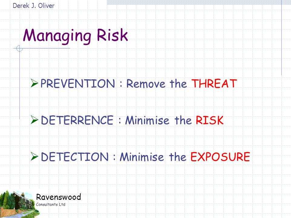 Derek J. Oliver Ravenswood Consultants Ltd Managing Risk  PREVENTION : Remove the THREAT  DETERRENCE : Minimise the RISK  DETECTION : Minimise the