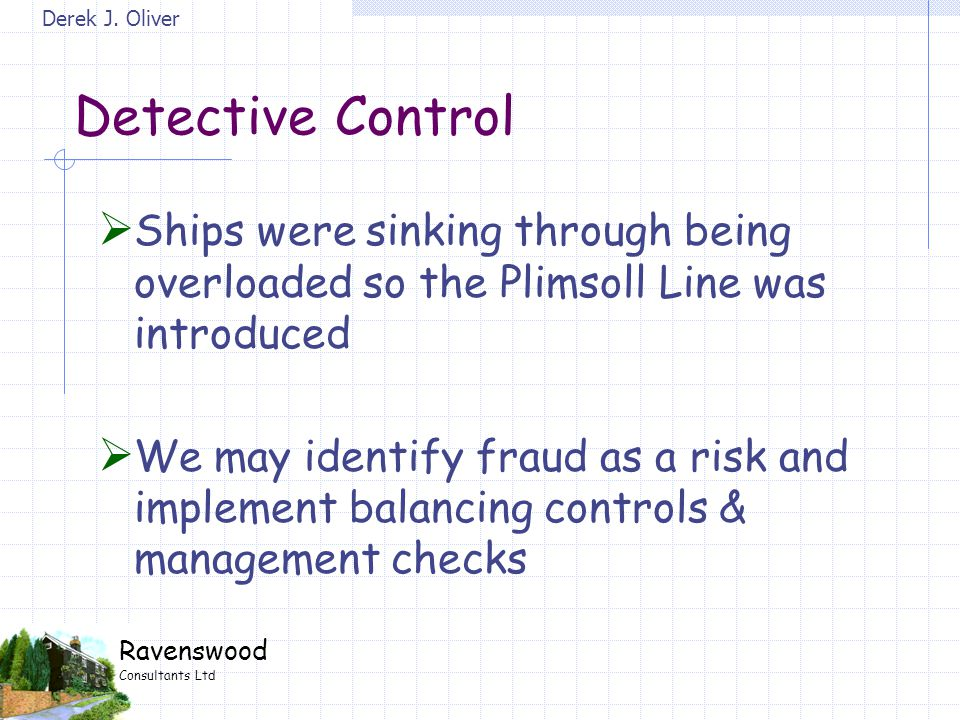 Derek J. Oliver Ravenswood Consultants Ltd Detective Control  Ships were sinking through being overloaded so the Plimsoll Line was introduced  We ma