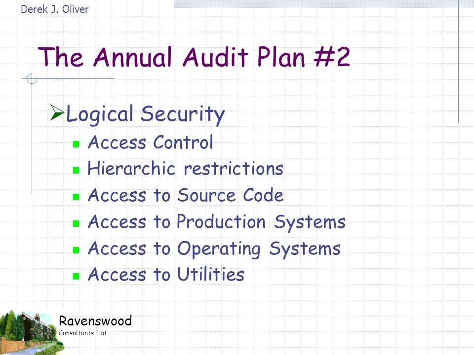 Derek J. Oliver Ravenswood Consultants Ltd The Annual Audit Plan #2  Logical Security Access Control Hierarchic restrictions Access to Source Code Ac