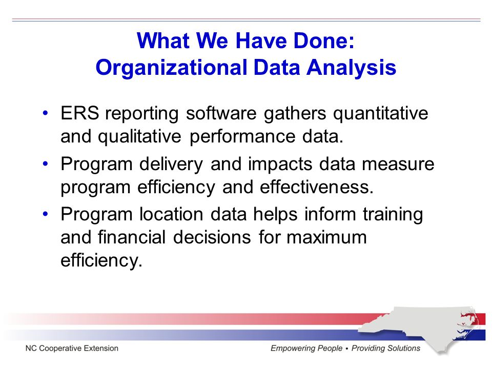 What We Have Done: Organizational Data Analysis ERS reporting software gathers quantitative and qualitative performance data.