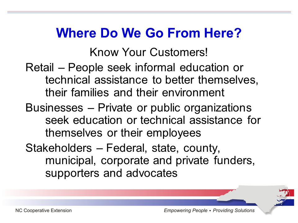 Where Do We Go From Here. Know Your Customers.