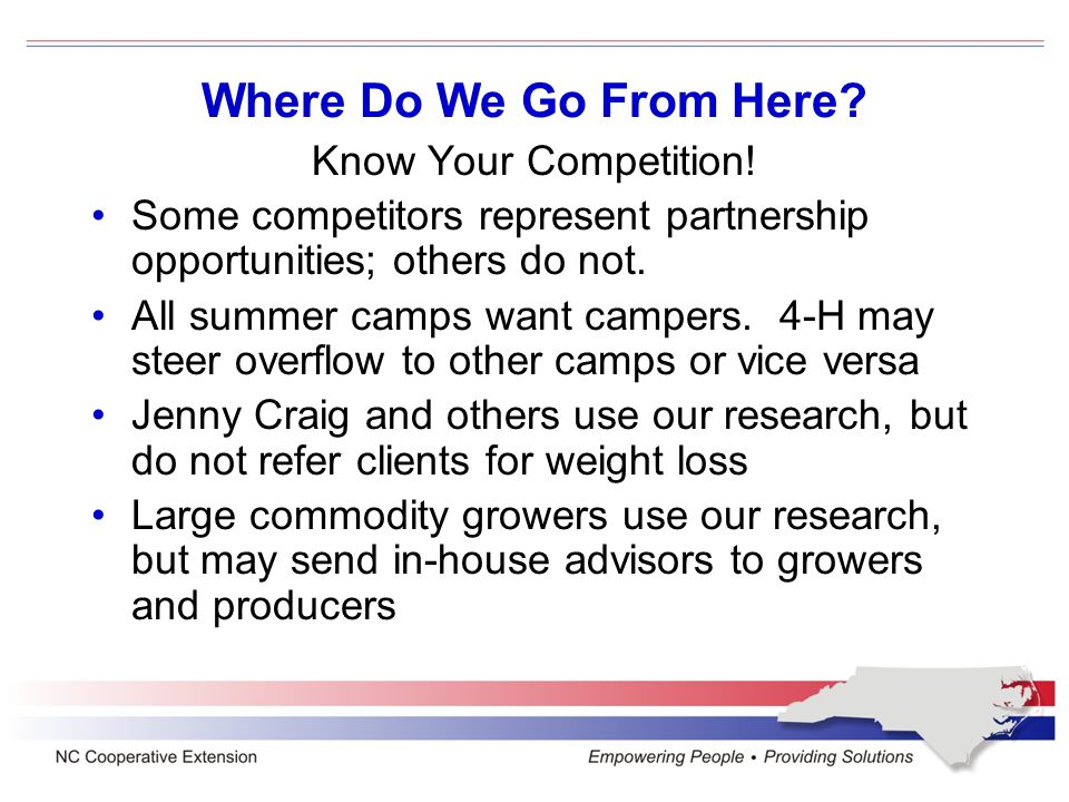 Where Do We Go From Here. Know Your Competition.