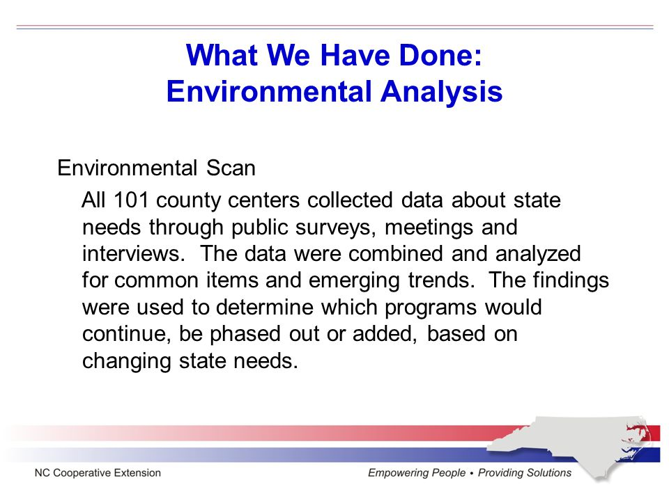 Environmental Analysis > Response Updated Goals Sustainable, Profitable and Safe Plant, Animal and Food Systems Environmental Stewardship and Natural Resources Management Energy Conservation and Alternatives Emergency and Disaster Preparedness