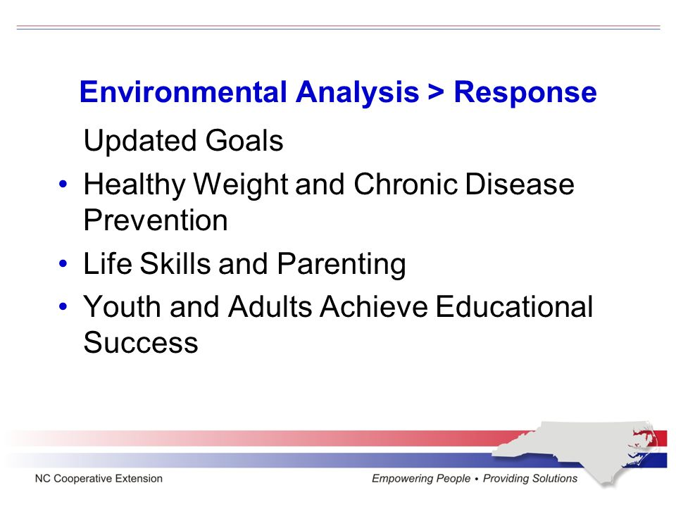 Environmental Analysis > Response Updated Goals Healthy Weight and Chronic Disease Prevention Life Skills and Parenting Youth and Adults Achieve Educational Success