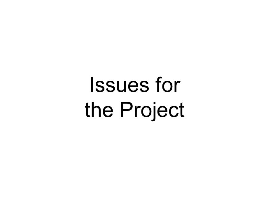 Issues for the Project