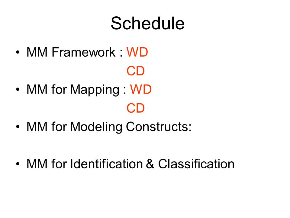 Schedule MM Framework : WD CD MM for Mapping : WD CD MM for Modeling Constructs: MM for Identification & Classification