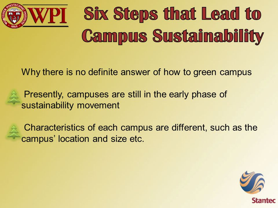Why there is no definite answer of how to green campus Presently, campuses are still in the early phase of sustainability movement Characteristics of each campus are different, such as the campus' location and size etc.