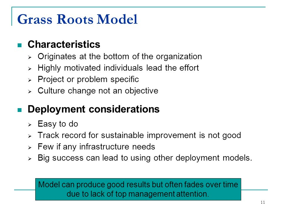 11 Grass Roots Model Characteristics  Originates at the bottom of the organization  Highly motivated individuals lead the effort  Project or proble