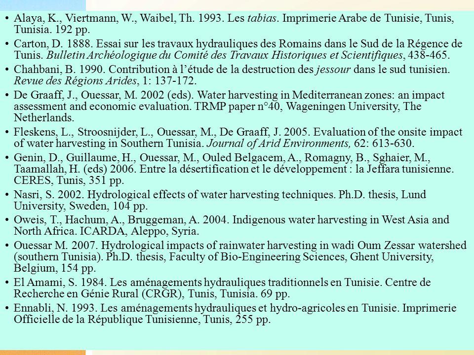 32 Alaya, K., Viertmann, W., Waibel, Th. 1993. Les tabias. Imprimerie Arabe de Tunisie, Tunis, Tunisia. 192 pp. Carton, D. 1888. Essai sur les travaux