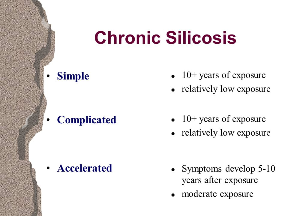 Chronic Silicosis Simple Complicated Accelerated l 10+ years of exposure l relatively low exposure l 10+ years of exposure l relatively low exposure l Symptoms develop 5-10 years after exposure l moderate exposure