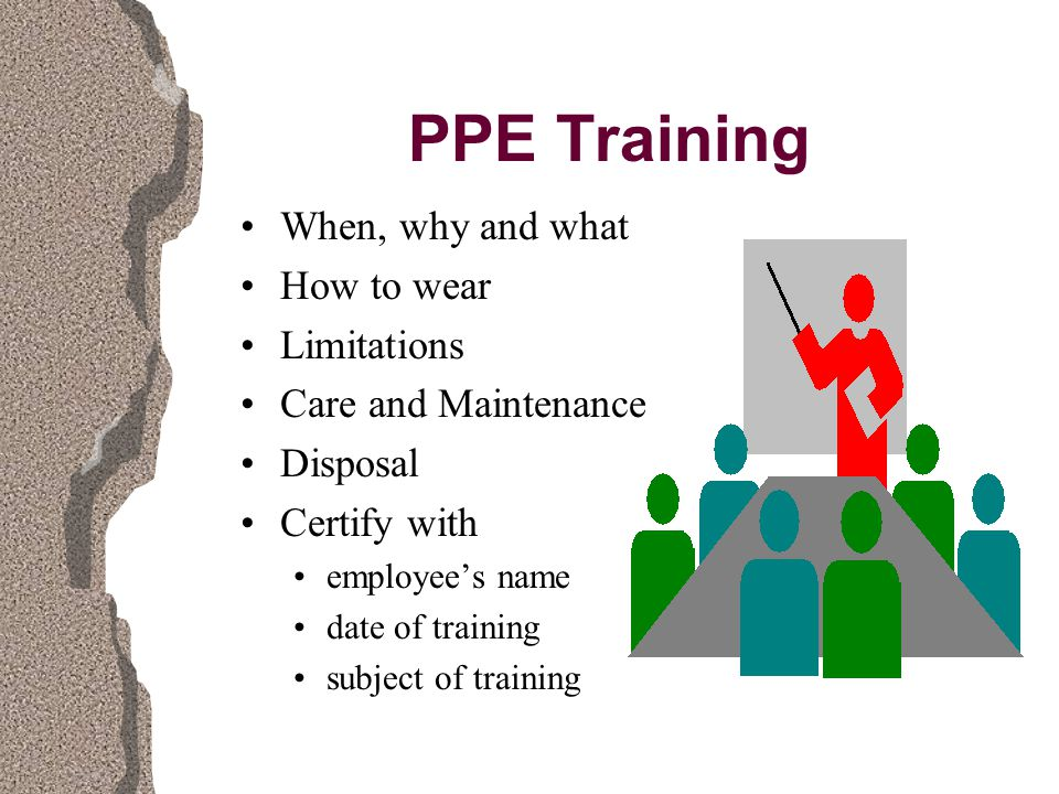 PPE Training When, why and what How to wear Limitations Care and Maintenance Disposal Certify with employee's name date of training subject of training