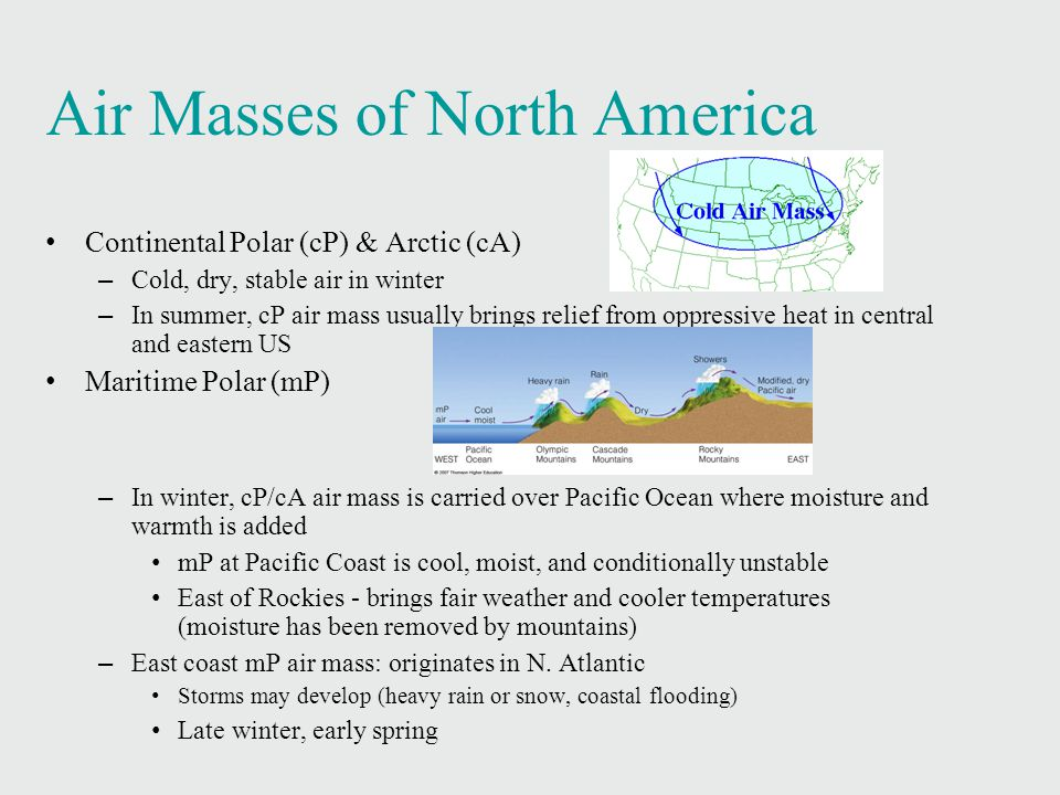 Air Masses of North America Continental Polar (cP) & Arctic (cA)‏ – Cold, dry, stable air in winter – In summer, cP air mass usually brings relief from oppressive heat in central and eastern US Maritime Polar (mP)‏ – In winter, cP/cA air mass is carried over Pacific Ocean where moisture and warmth is added mP at Pacific Coast is cool, moist, and conditionally unstable East of Rockies - brings fair weather and cooler temperatures (moisture has been removed by mountains)‏ – East coast mP air mass: originates in N.