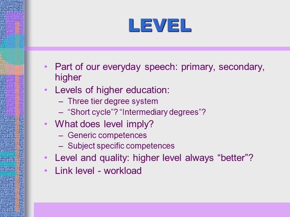 LEVEL Part of our everyday speech: primary, secondary, higher Levels of higher education: –Three tier degree system – Short cycle .