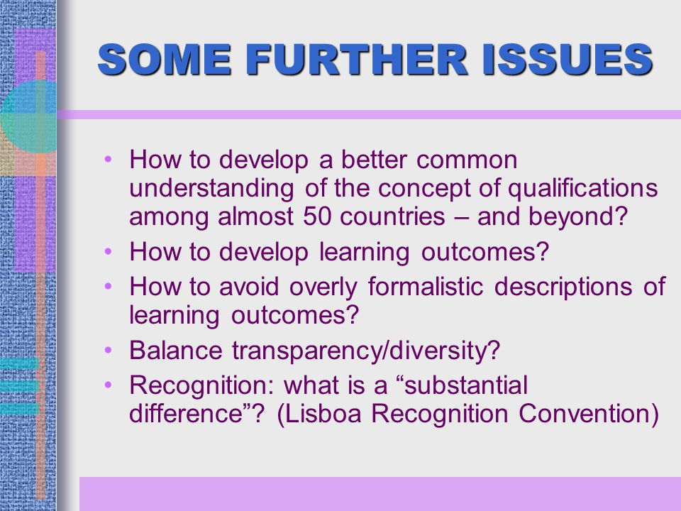 SOME FURTHER ISSUES How to develop a better common understanding of the concept of qualifications among almost 50 countries – and beyond.