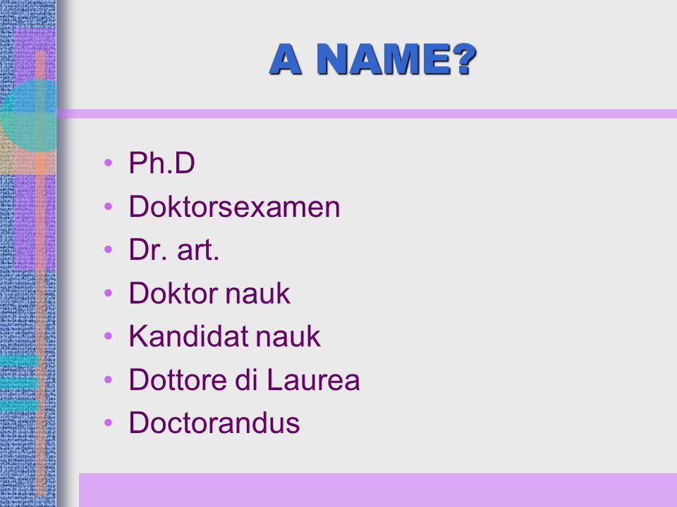 A NAME Ph.D Doktorsexamen Dr. art. Doktor nauk Kandidat nauk Dottore di Laurea Doctorandus