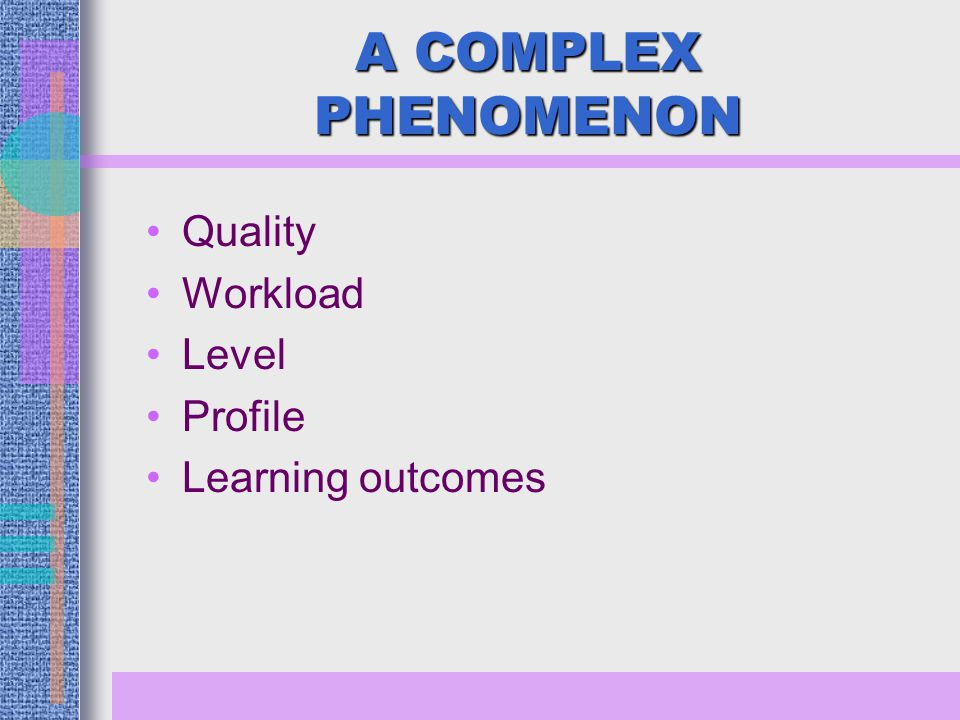 A COMPLEX PHENOMENON Quality Workload Level Profile Learning outcomes