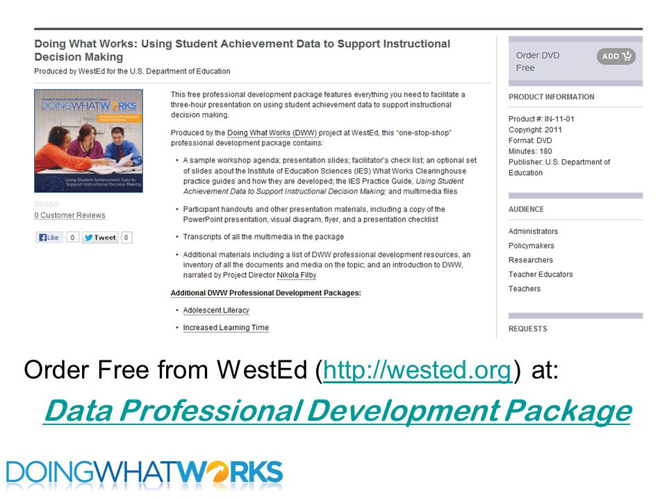 Order Free from WestEd (http://wested.org) at:http://wested.org Data Professional Development Package