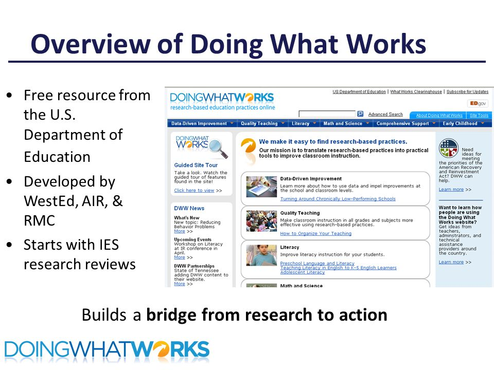 Overview of Doing What Works Builds a bridge from research to action Free resource from the U.S.