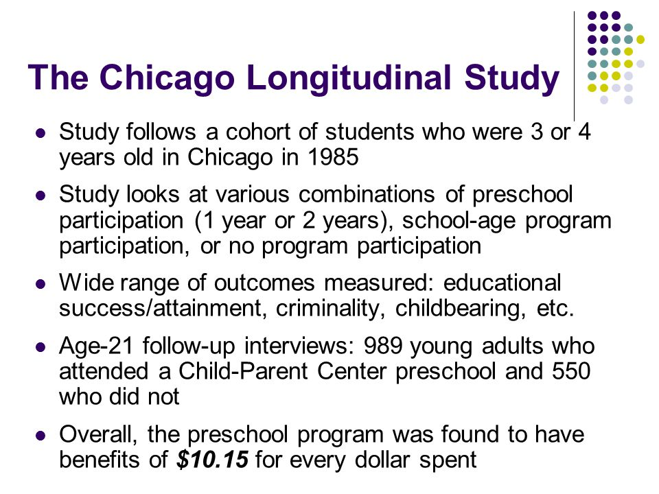 The Chicago Longitudinal Study Study follows a cohort of students who were 3 or 4 years old in Chicago in 1985 Study looks at various combinations of preschool participation (1 year or 2 years), school-age program participation, or no program participation Wide range of outcomes measured: educational success/attainment, criminality, childbearing, etc.