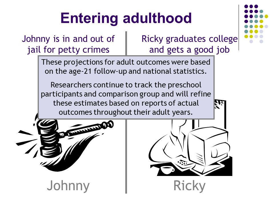 Entering adulthood JohnnyRicky Ricky graduates college and gets a good job Johnny is in and out of jail for petty crimes These projections for adult outcomes were based on the age-21 follow-up and national statistics.