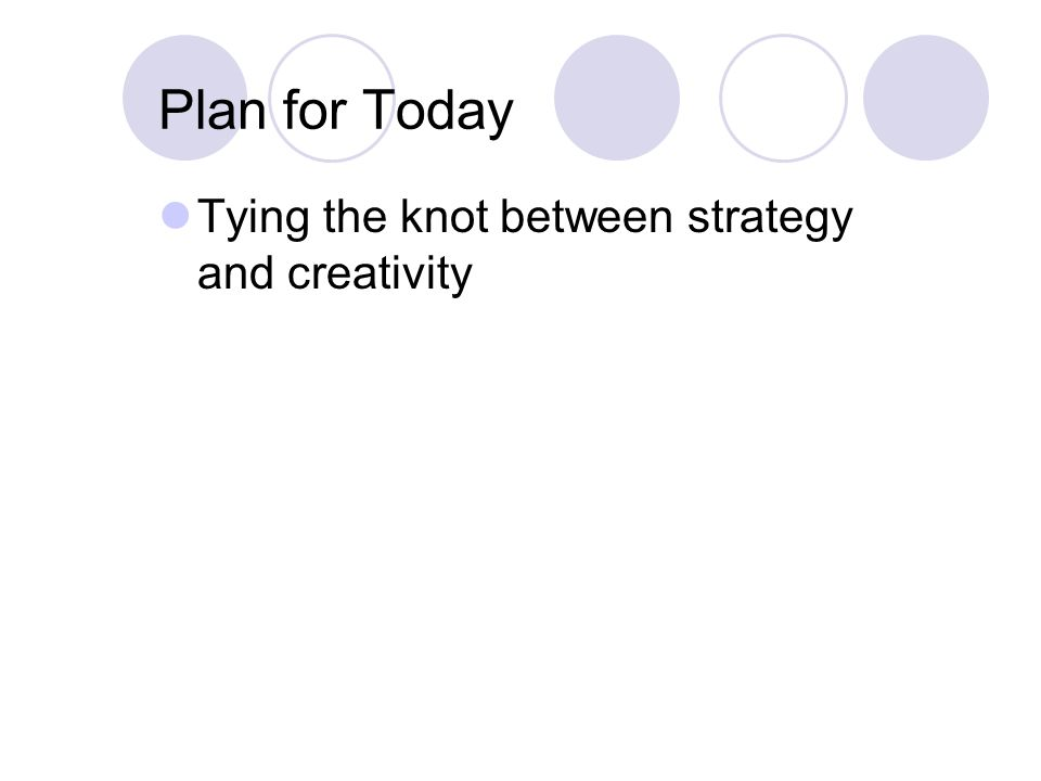 Plan for Today Tying the knot between strategy and creativity
