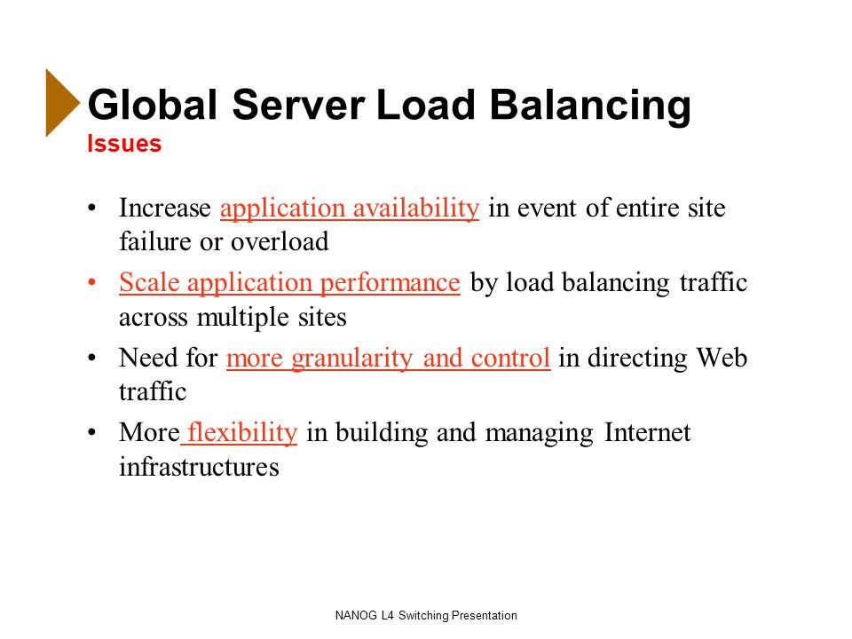 NANOG L4 Switching Presentation Global Server Load Balancing Issues Increase application availability in event of entire site failure or overload Scale application performance by load balancing traffic across multiple sites Need for more granularity and control in directing Web traffic More flexibility in building and managing Internet infrastructures