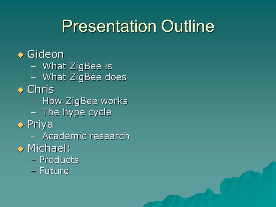 Presentation Outline  Gideon – What ZigBee is – What ZigBee does  Chris – How ZigBee works – The hype cycle  Priya – Academic research  Michael: –