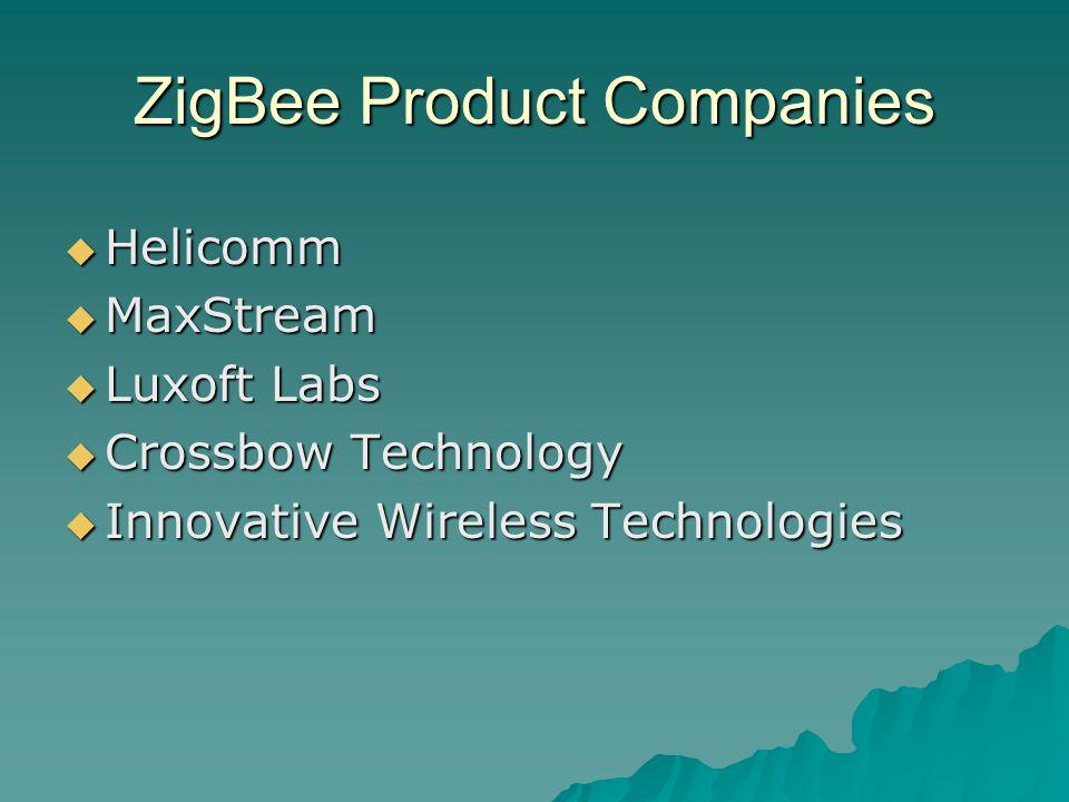 ZigBee Product Companies  Helicomm  MaxStream  Luxoft Labs  Crossbow Technology  Innovative Wireless Technologies