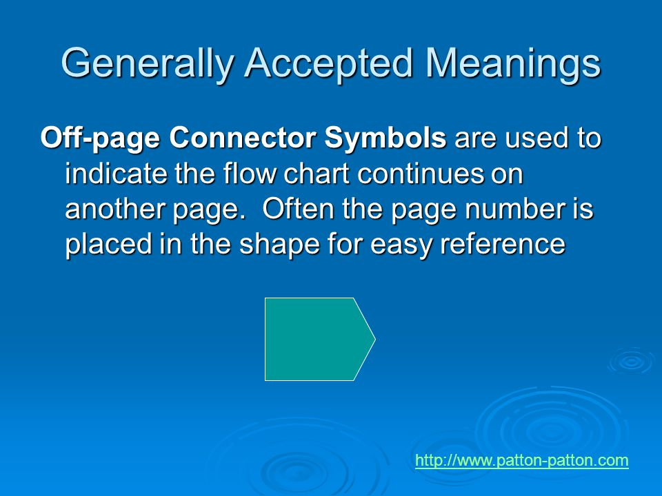 Generally Accepted Meanings Off-page Connector Symbols are used to indicate the flow chart continues on another page. Often the page number is placed
