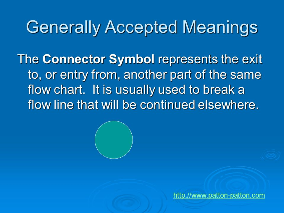 Generally Accepted Meanings The Connector Symbol represents the exit to, or entry from, another part of the same flow chart. It is usually used to bre