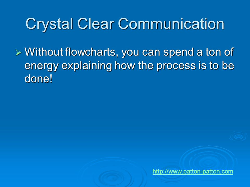Crystal Clear Communication  Without flowcharts, you can spend a ton of energy explaining how the process is to be done! http://www.patton-patton.com