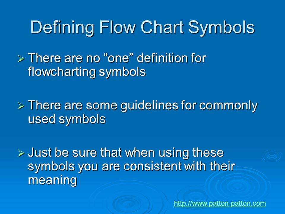"""Defining Flow Chart Symbols  There are no """"one"""" definition for flowcharting symbols  There are some guidelines for commonly used symbols  Just be s"""