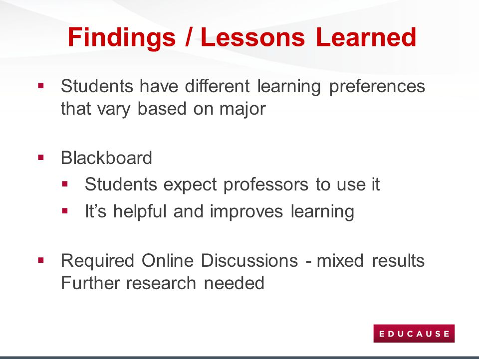 Findings / Lessons Learned  Students have different learning preferences that vary based on major  Blackboard  Students expect professors to use it
