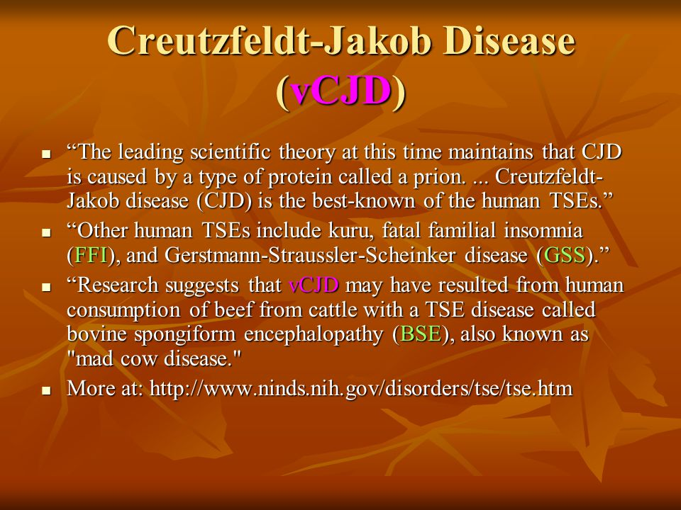 "Creutzfeldt-Jakob Disease (vCJD) ""The leading scientific theory at this time maintains that CJD is caused by a type of protein called a prion.... Creu"