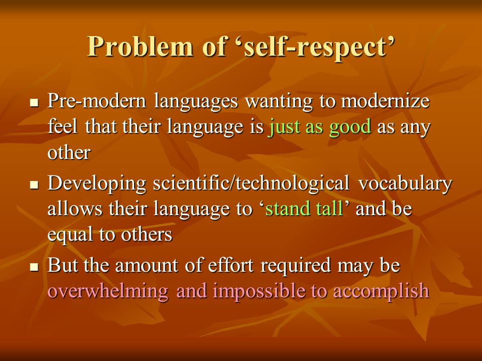 Problem of 'self-respect' Pre-modern languages wanting to modernize feel that their language is just as good as any other Pre-modern languages wanting to modernize feel that their language is just as good as any other Developing scientific/technological vocabulary allows their language to 'stand tall' and be equal to others Developing scientific/technological vocabulary allows their language to 'stand tall' and be equal to others But the amount of effort required may be overwhelming and impossible to accomplish But the amount of effort required may be overwhelming and impossible to accomplish