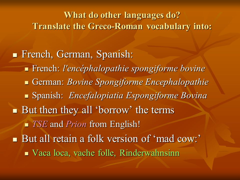 What do other languages do? Translate the Greco-Roman vocabulary into: French, German, Spanish: French, German, Spanish: French: l'encéphalopathie spo