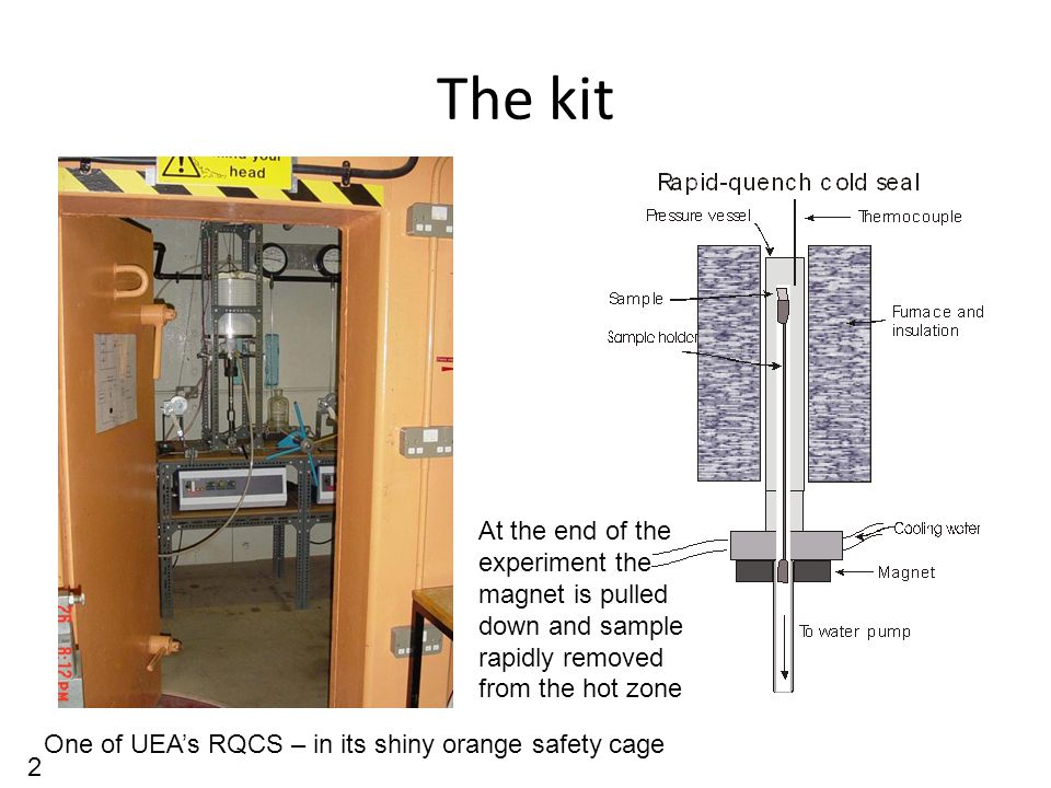 The kit One of UEA's RQCS – in its shiny orange safety cage 2 At the end of the experiment the magnet is pulled down and sample rapidly removed from t