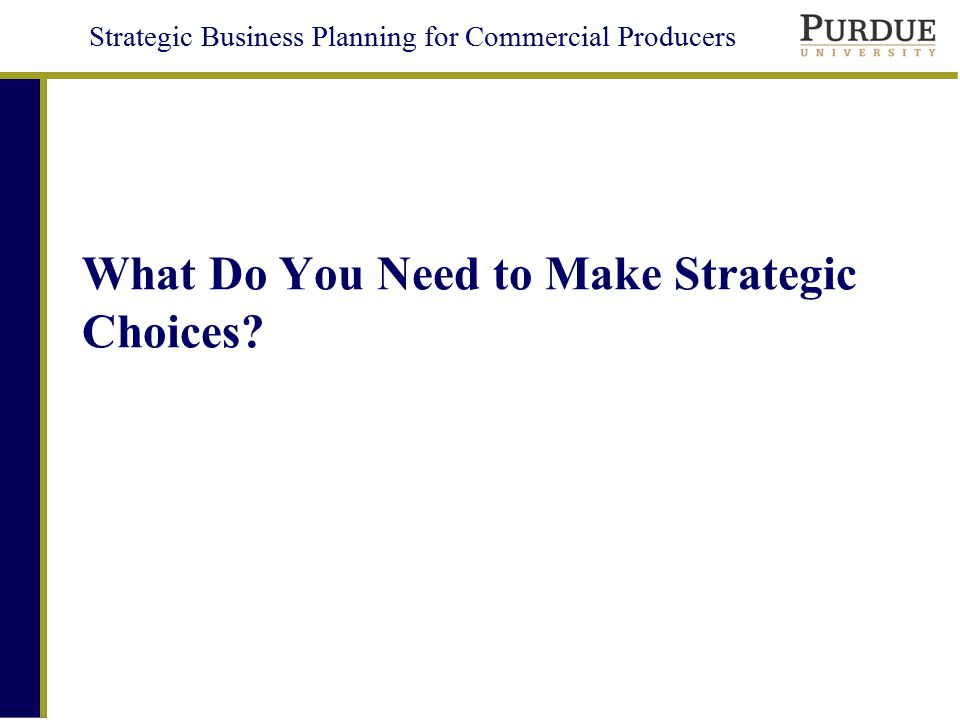 Strategic Business Planning for Commercial Producers Objectives Present key decisions and their basic options Provide tools for selecting a strategy in your business