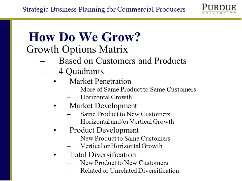 Strategic Business Planning for Commercial Producers Growth Options Matrix Old New Old New Market Penetration Product Development Market Development Total Diversification Product/Service Customer Focus