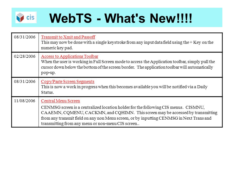 WebTS - What s New!!!.