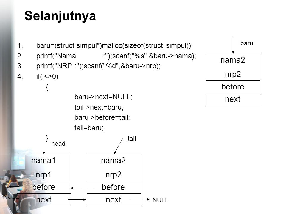 Selanjutnya 1.baru=(struct simpul*)malloc(sizeof(struct simpul)); 2.printf( Nama: );scanf( %s ,&baru->nama); 3.printf( NRP: );scanf( %d ,&baru->nrp); 4.if(j<>0) { baru->next=NULL; tail->next=baru; baru->before=tail; tail=baru; } nama2 nrp2 before NULL tail nama1 nrp1 before head nama2 nrp2 before baru next NULL