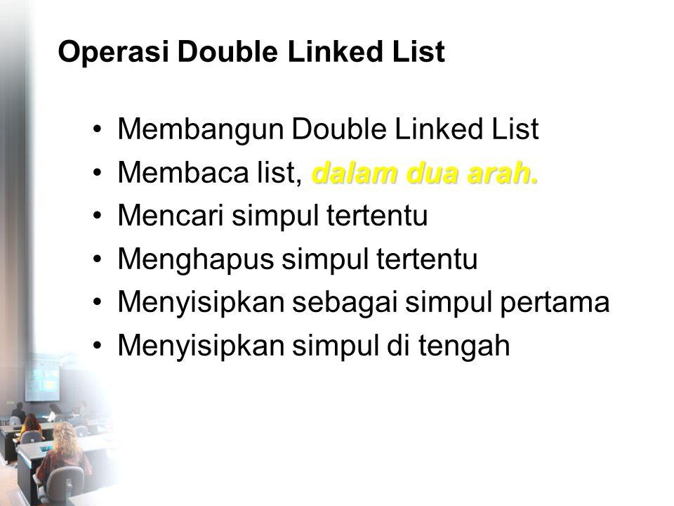 Menghapus Simpul Tertentu (Di Tengah) nama4 nrp4 before NULL tail nama1 nrp1 before head next nama2 nrp2 before next nama3 nrp3 before next NULL cari->before->next=cari->next; cari