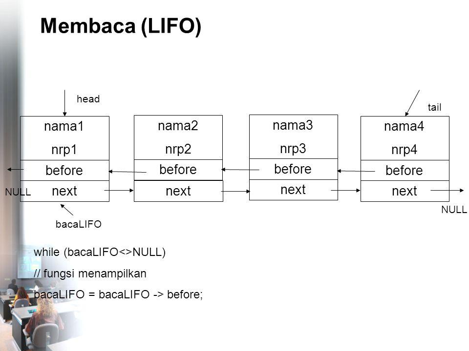Membaca (LIFO) nama4 nrp4 before NULL tail nama1 nrp1 before head next nama2 nrp2 before next nama3 nrp3 before next NULL while (bacaLIFO<>NULL) // fungsi menampilkan bacaLIFO = bacaLIFO -> before; bacaLIFO