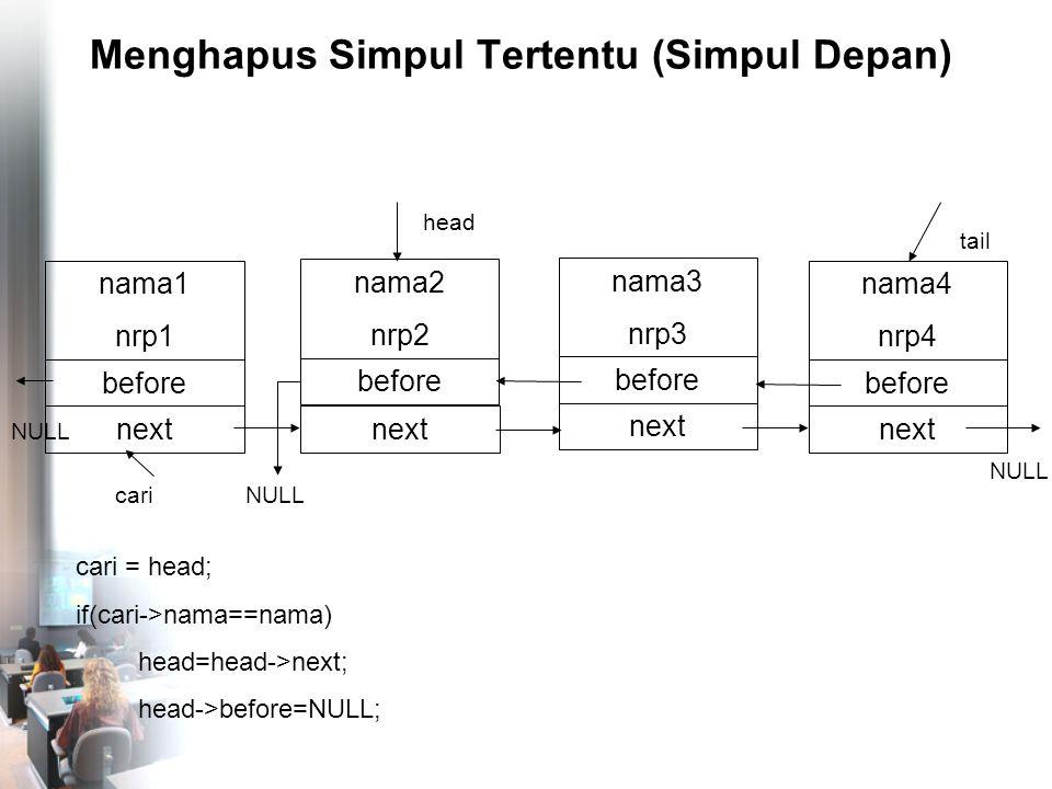 Menghapus Simpul Tertentu (Simpul Depan) nama4 nrp4 before NULL tail nama1 nrp1 before head next nama2 nrp2 before next nama3 nrp3 before next NULL cari = head; if(cari->nama==nama) head=head->next; head->before=NULL; cari NULL